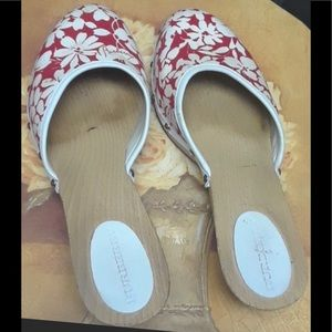 Authentic Burberry Wooden Heel Mules Size 7